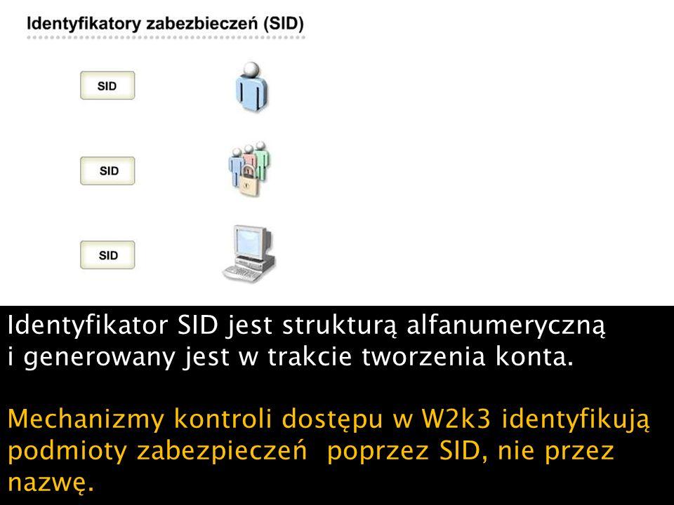 Przykładowo, jeśli przypadkowo usuniemy konto komputera, a następnie utworzymy konto o tej samej nazwie, dla konta tego zostanie wygenerowany nowy identyfikator SID.