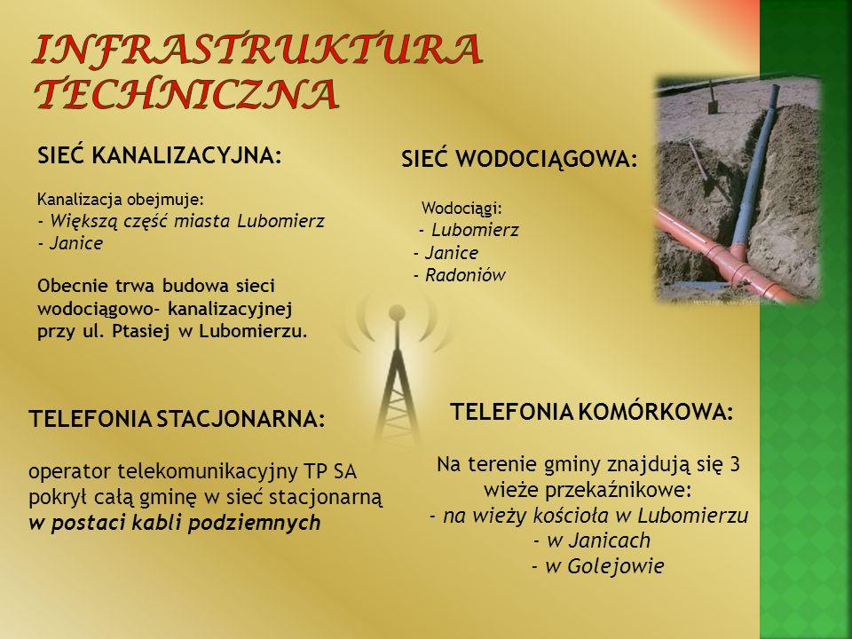 SIEĆ KANALIZACYJNA: Kanalizacja obejmuje: - Większą część miasta Lubomierz - Janice Obecnie trwa budowa sieci wodociągowo- kanalizacyjnej przy ul. Pta