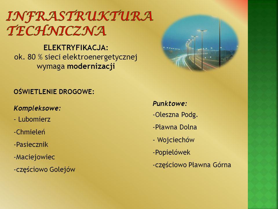 ELEKTRYFIKACJA: ok. 80 % sieci elektroenergetycznej wymaga modernizacji OŚWIETLENIE DROGOWE: Kompleksowe: - Lubomierz -Chmieleń -Pasiecznik -Maciejowi