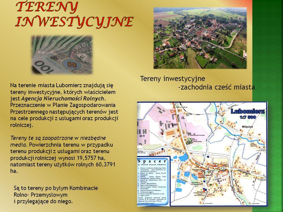 Na terenie miasta Lubomierz znajdują się tereny inwestycyjne, których właścicielem jest Agencja Nieruchomości Rolnych. Przeznaczenie w Planie Zagospod