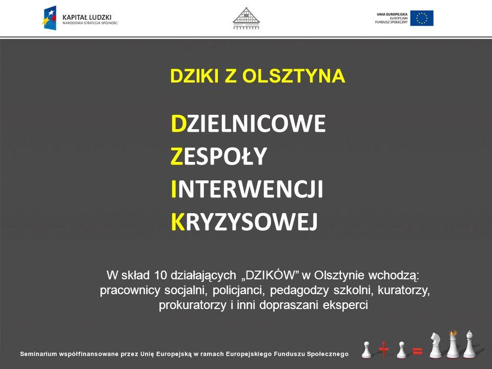DZIKI Z OLSZTYNA DZIELNICOWE ZESPOŁY INTERWENCJI KRYZYSOWEJ W skład 10 działających DZIKÓW w Olsztynie wchodzą: pracownicy socjalni, policjanci, pedag