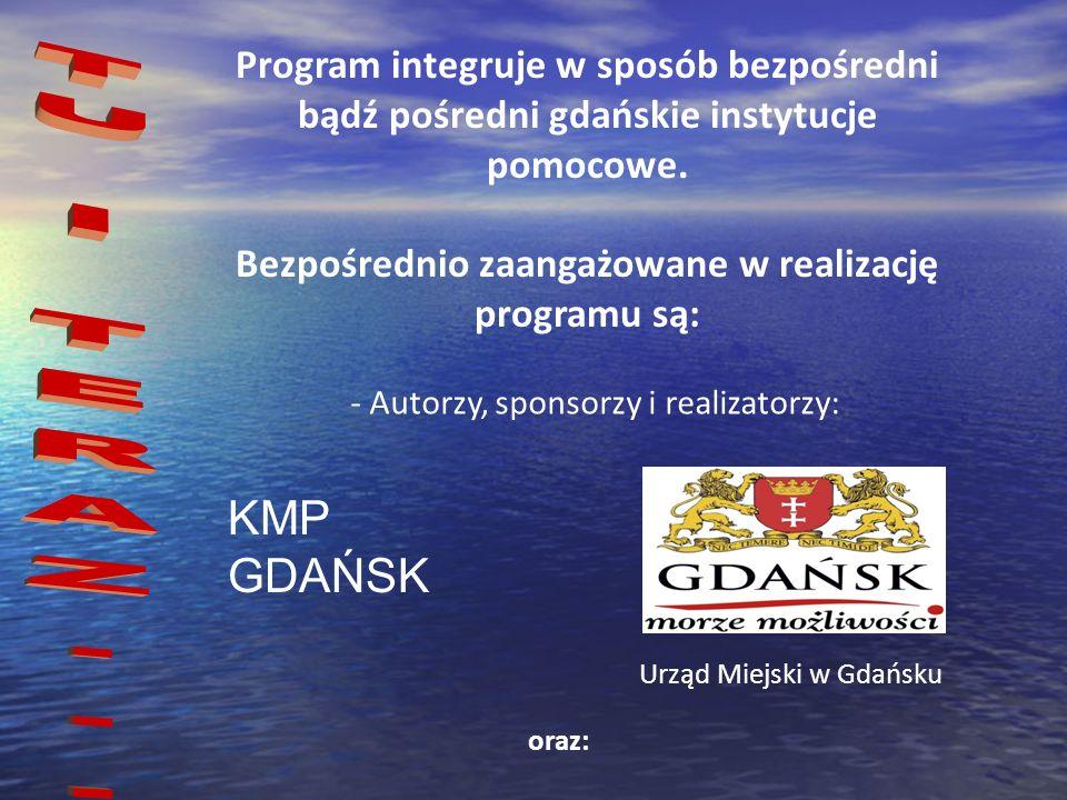 Program integruje w sposób bezpośredni bądź pośredni gdańskie instytucje pomocowe. Bezpośrednio zaangażowane w realizację programu są: - Autorzy, spon