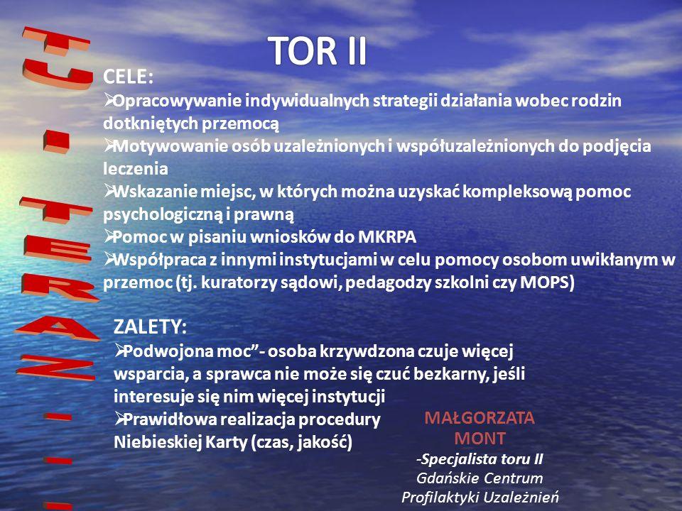 MAŁGORZATA MONT -Specjalista toru II Gdańskie Centrum Profilaktyki Uzależnień CELE: Opracowywanie indywidualnych strategii działania wobec rodzin dotk
