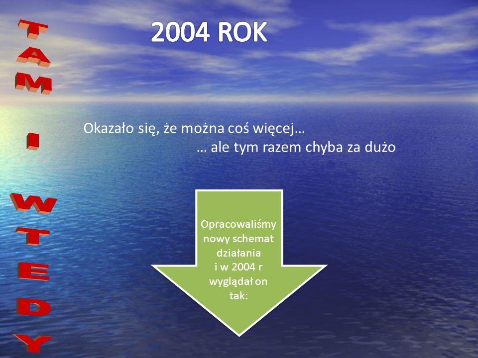 Okazało się, że można coś więcej… … ale tym razem chyba za dużo Opracowaliśmy nowy schemat działania i w 2004 r wyglądał on tak:
