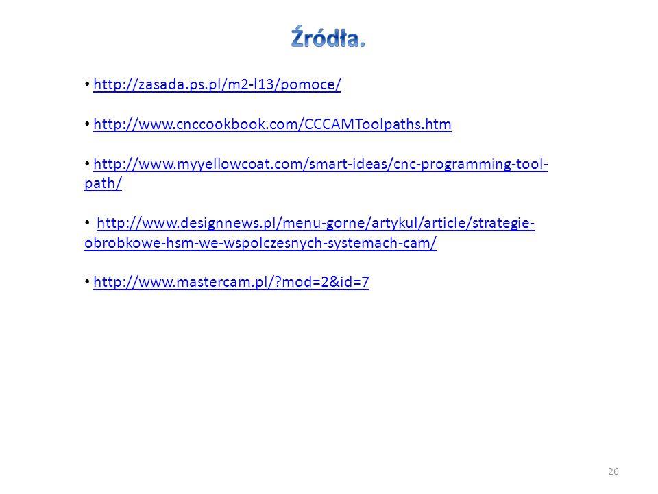 26 http://zasada.ps.pl/m2-l13/pomoce/ http://www.cnccookbook.com/CCCAMToolpaths.htm http://www.myyellowcoat.com/smart-ideas/cnc-programming-tool- path