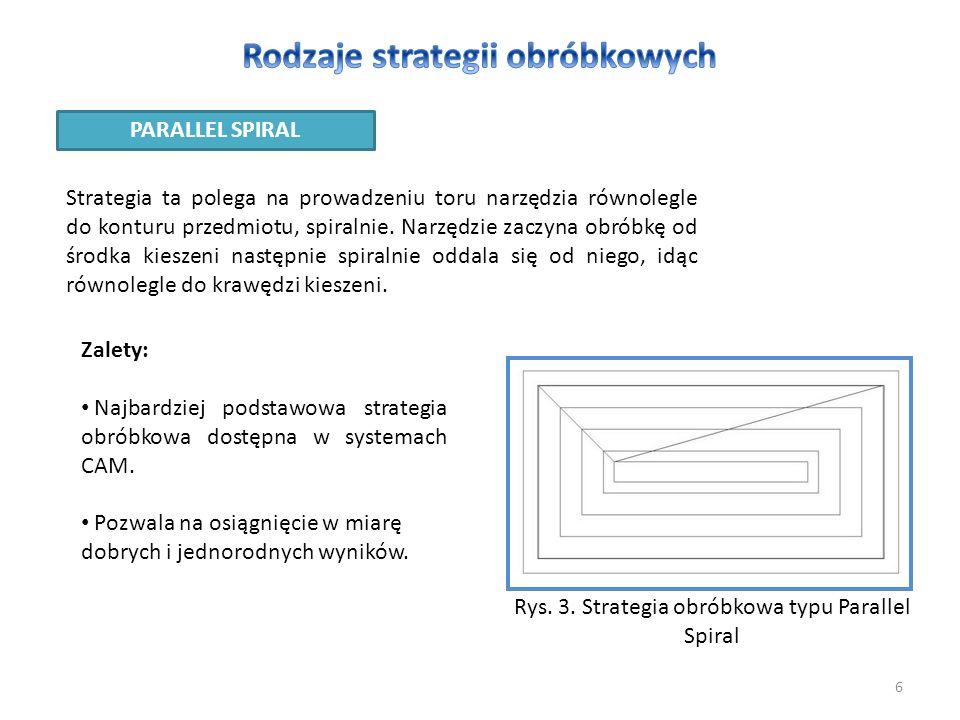 6 PARALLEL SPIRAL Strategia ta polega na prowadzeniu toru narzędzia równolegle do konturu przedmiotu, spiralnie. Narzędzie zaczyna obróbkę od środka k