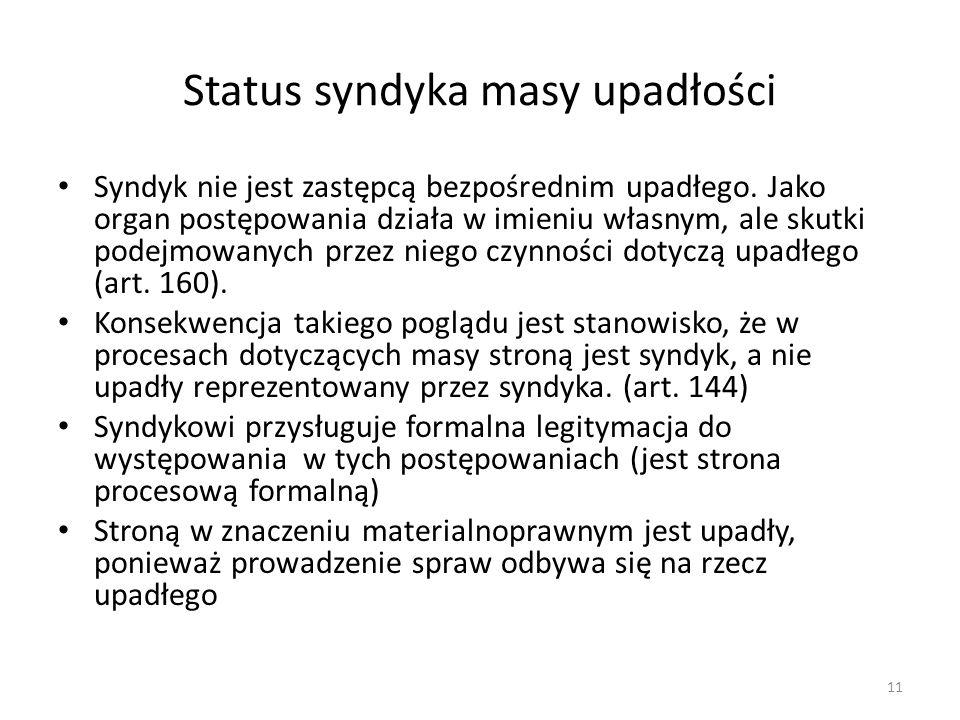 Status syndyka masy upadłości Syndyk nie jest zastępcą bezpośrednim upadłego. Jako organ postępowania działa w imieniu własnym, ale skutki podejmowany