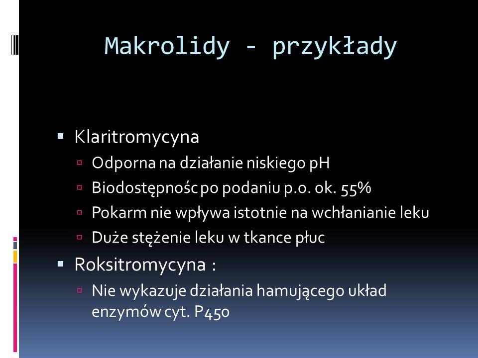 Makrolidy - przykłady Klaritromycyna Odporna na działanie niskiego pH Biodostępnośc po podaniu p.o. ok. 55% Pokarm nie wpływa istotnie na wchłanianie