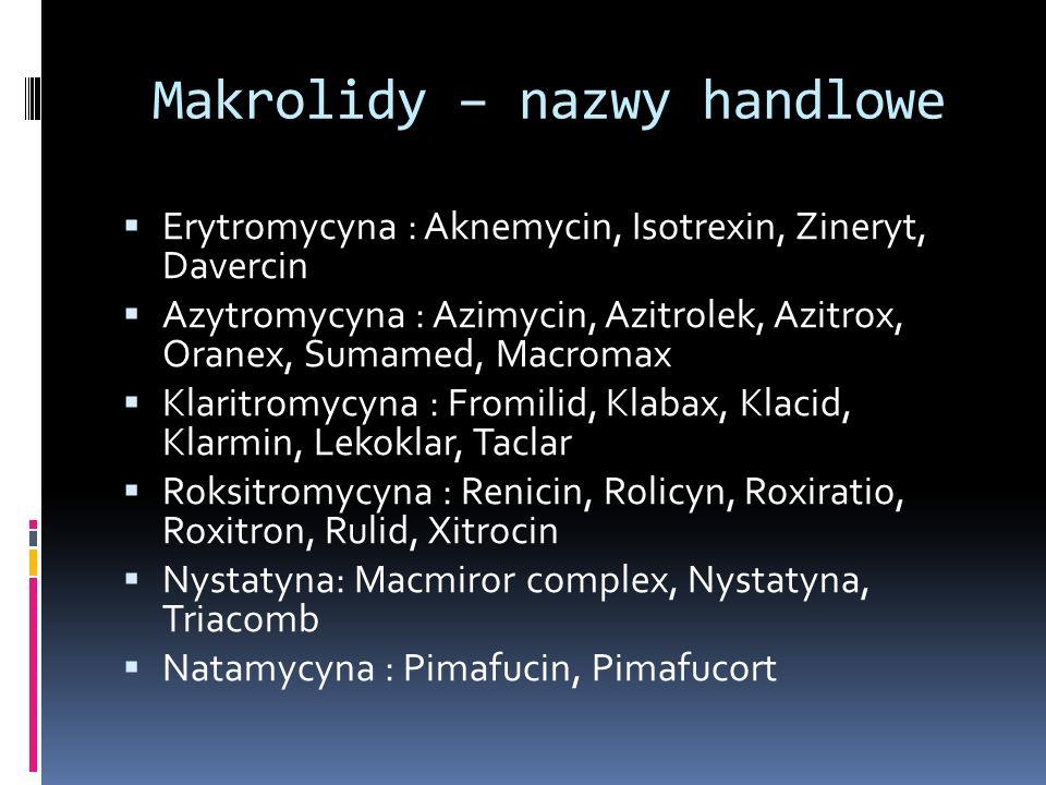 Makrolidy – nazwy handlowe Erytromycyna : Aknemycin, Isotrexin, Zineryt, Davercin Azytromycyna : Azimycin, Azitrolek, Azitrox, Oranex, Sumamed, Macrom