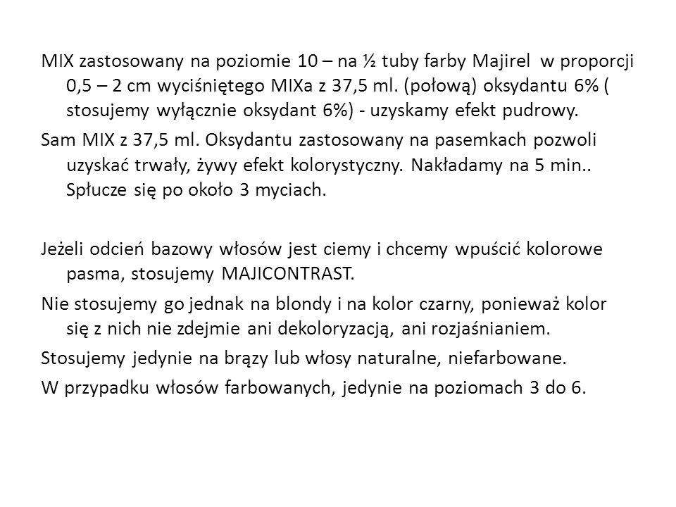 MIX zastosowany na poziomie 10 – na ½ tuby farby Majirel w proporcji 0,5 – 2 cm wyciśniętego MIXa z 37,5 ml. (połową) oksydantu 6% ( stosujemy wyłączn