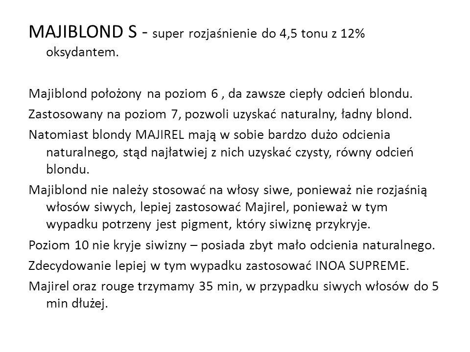MAJIBLOND S - super rozjaśnienie do 4,5 tonu z 12% oksydantem. Majiblond położony na poziom 6, da zawsze ciepły odcień blondu. Zastosowany na poziom 7