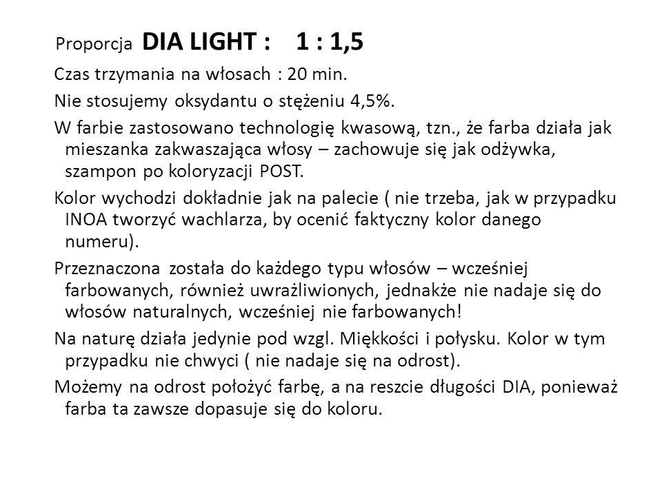 Proporcja DIA LIGHT : 1 : 1,5 Czas trzymania na włosach : 20 min. Nie stosujemy oksydantu o stężeniu 4,5%. W farbie zastosowano technologię kwasową, t