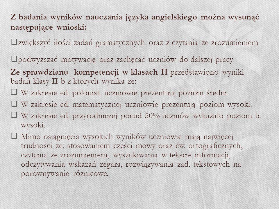Wnioski z realizacji harmonogram badania osiągnięć edukacyjnych uczniów w roku szkolnym 2011/2012 1.W zakresie diagnozy na wejściu dostarczono wyniki badań na wstępie i zakończenie klasy IV z języka angielskiego, języka polskiego (4b).