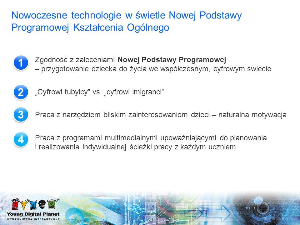 Zgodność z zaleceniami Nowej Podstawy Programowej – przygotowanie dziecka do życia we współczesnym, cyfrowym świecie Cyfrowi tubylcy vs. cyfrowi imigr