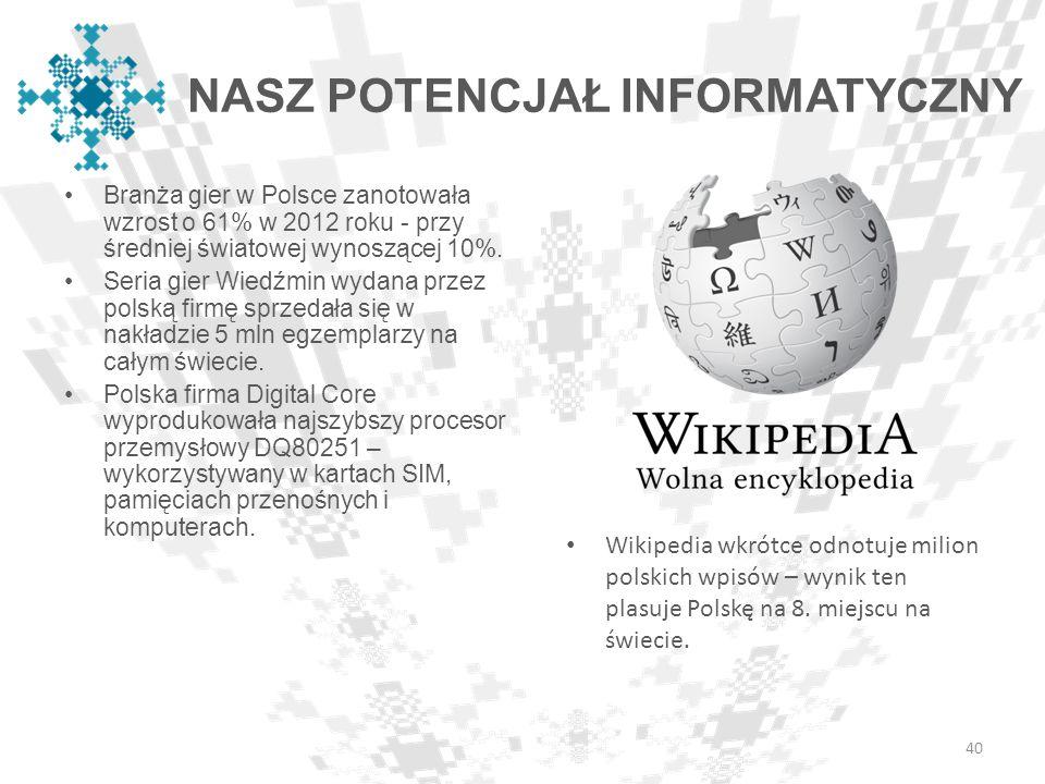 Branża gier w Polsce zanotowała wzrost o 61% w 2012 roku - przy średniej światowej wynoszącej 10%. Seria gier Wiedźmin wydana przez polską firmę sprze