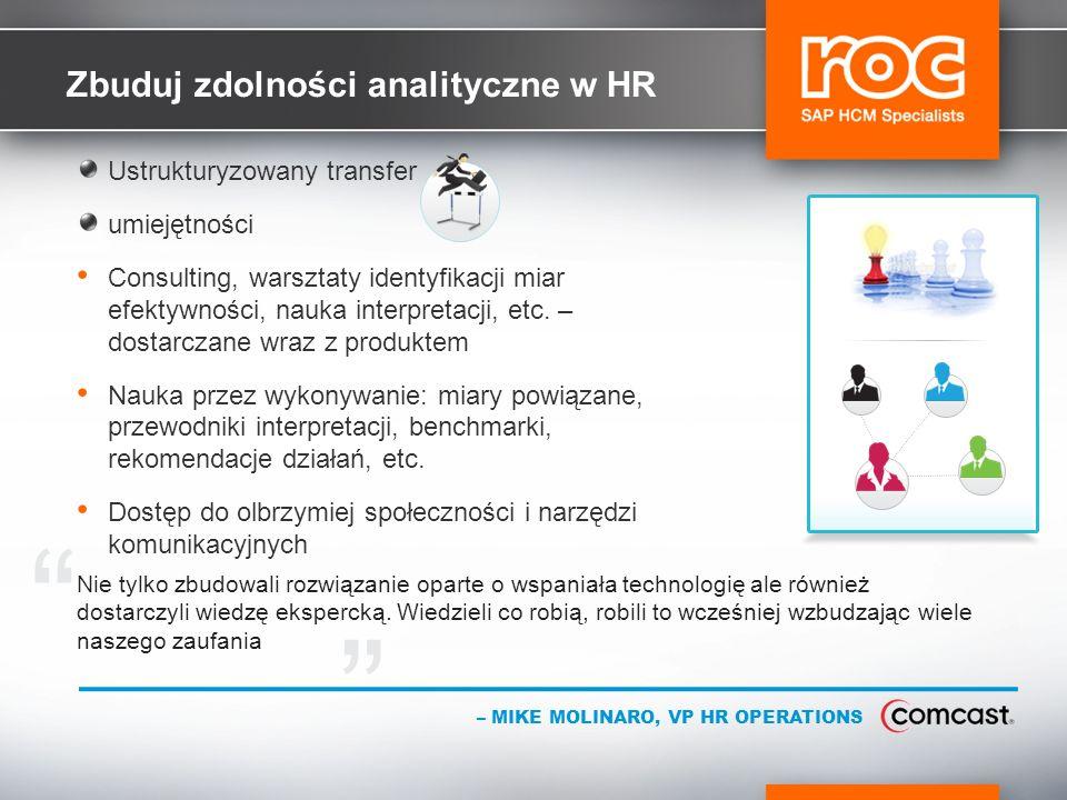 Zbuduj zdolności analityczne w HR Ustrukturyzowany transfer umiejętności Consulting, warsztaty identyfikacji miar efektywności, nauka interpretacji, etc.