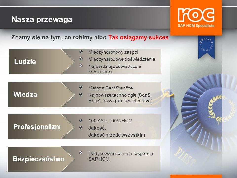 Nasza przewaga Znamy się na tym, co robimy albo Tak osiągamy sukces Ludzie Międzynarodowy zespół Międzynarodowe doświadczenia Najbardziej doświadczeni konsultanci Wiedza Metoda Best Practice Najnowsze technologie (SaaS, RaaS, rozwiązania w chmurze) Profesjonalizm 100 SAP, 100% HCM Jakość, Jakość przede wszystkim Bezpieczeństwo Dedykowane centrum wsparcia SAP HCM