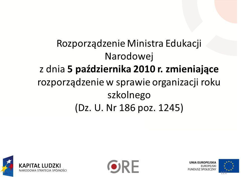Organizacja roku szkolnego Rozporządzenie Ministra Edukacji Narodowej i sportu z dnia 18 kwietnia 2002 r. w sprawie organizacji roku szkolnego (Dz. U.
