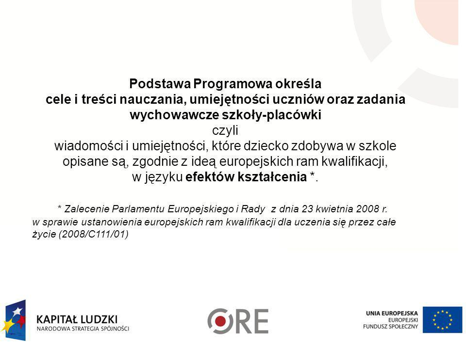Podstawa Programowa określa cele i treści nauczania, umiejętności uczniów oraz zadania wychowawcze szkoły-placówki czyli wiadomości i umiejętności, które dziecko zdobywa w szkole opisane są, zgodnie z ideą europejskich ram kwalifikacji, w języku efektów kształcenia *.