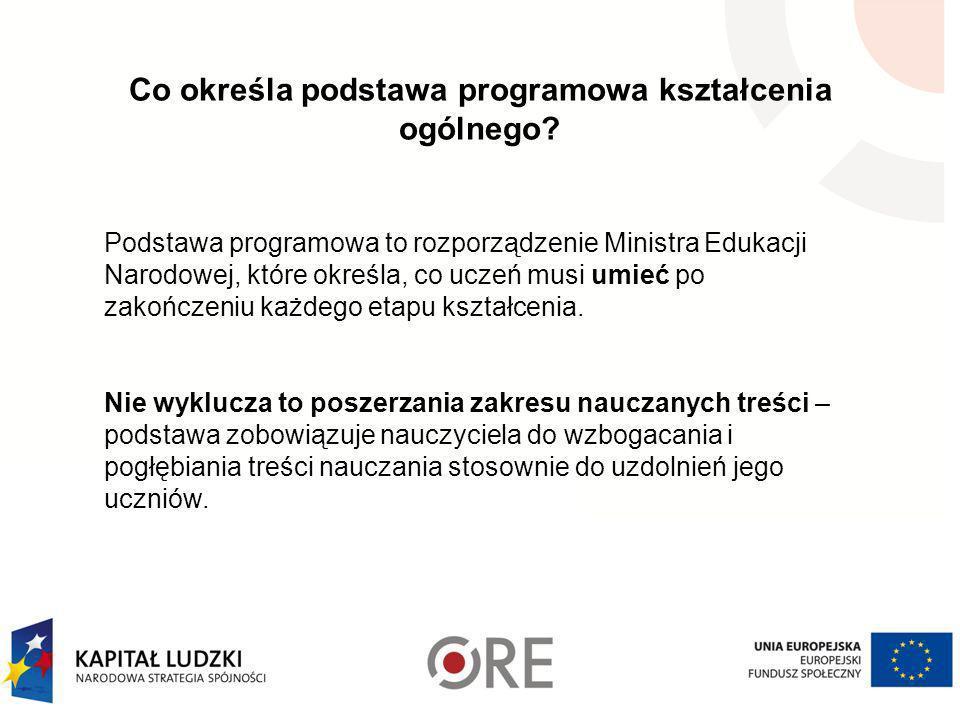 W trzyletnim okresie nauczania (III etap edukacyjny): poszczególne obowiązkowe zajęcia edukacyjne należy zrealizować co najmniej w wymiarze: a) język polski - 450 godzin b) dwa języki obce nowożytne - 450 godzin (godziny te mogą być dowolnie rozdzielone pomiędzy te języki), c) język obcy nowożytny w gimnazjach specjalnych i oddziałach specjalnych dla uczniów z upośledzeniem umysłowym w stopniu lekkim – 290 godzin, d) język obcy nowożytny będący drugim językiem nauczania w szkołach i oddziałach dwujęzycznych – dodatkowo 190 godzin, e) muzyka - 30 godzin, f) plastyka - 30 godzin, g) historia - 190 godzin, h) wiedza o społeczeństwie - 65 godzin, i) geografia - 130 godzin, j) biologia - 130 godzin, k) chemia - 130 godzin, l) fizyka - 130 godzin, m) matematyka - 385 godzin, n) informatyka - 65 godzin, o) wychowanie fizyczne - 385 godzin, p) edukacja dla bezpieczeństwa - 30 godzin, q) zajęcia artystyczne - 65 godzin, r) zajęcia techniczne - 65 godzin, a w gimnazjum specjalnym - 220 godzin, s) godziny z wychowawcą - 95 godzin.