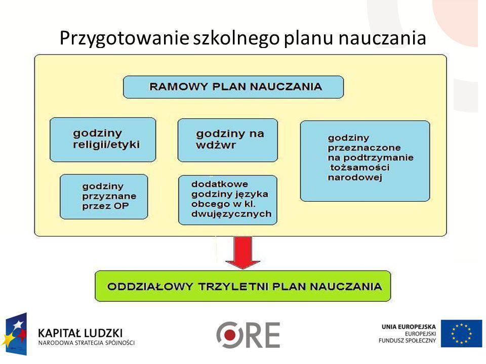 Przygotowanie szkolnego planu nauczania Opracowanie szkolnego planu nauczania wymaga odpowiedniego przygotowania danych. Pamiętać należy, że planujemy