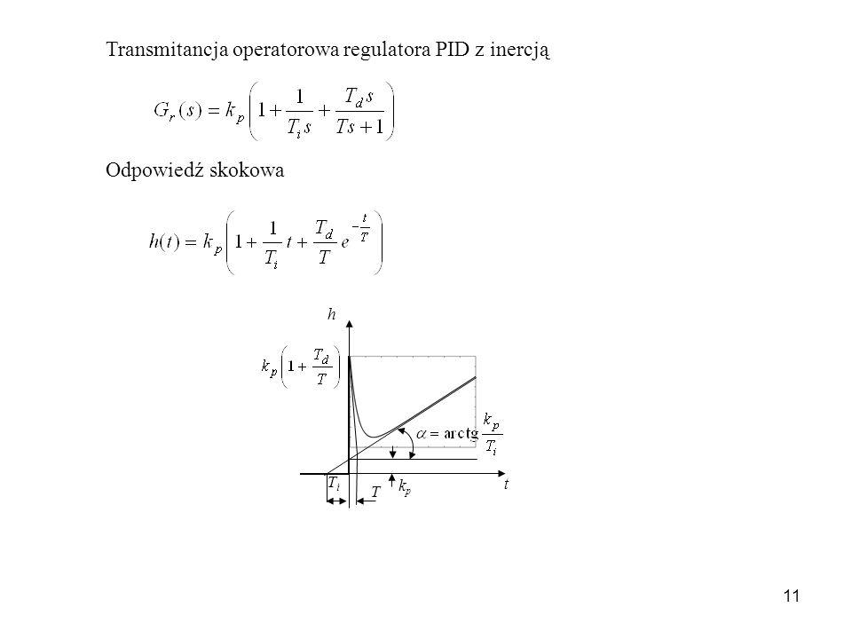 11 Transmitancja operatorowa regulatora PID z inercją Odpowiedź skokowa t h TiTi T kpkp