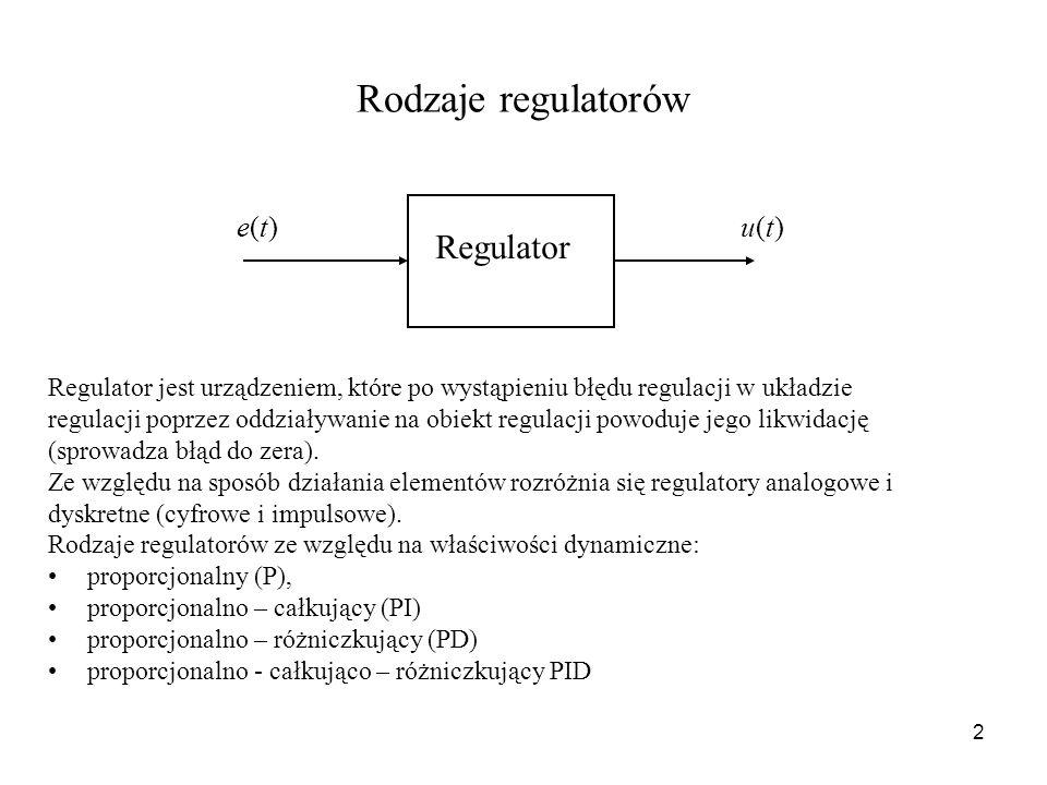 2 Rodzaje regulatorów Regulator jest urządzeniem, które po wystąpieniu błędu regulacji w układzie regulacji poprzez oddziaływanie na obiekt regulacji