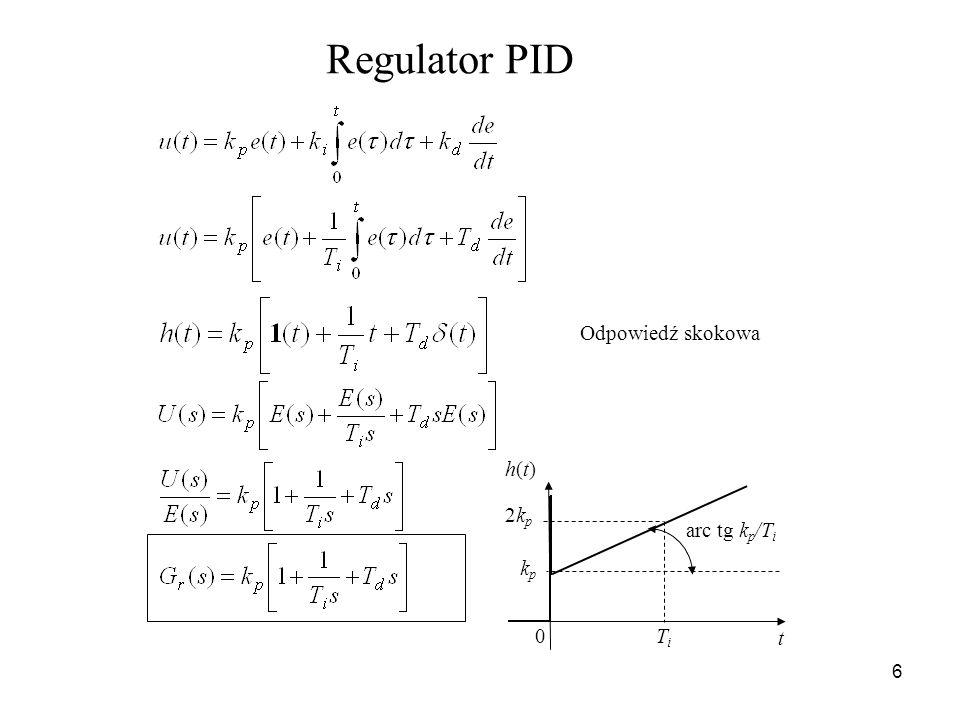 6 Regulator PID kpkp t h(t)h(t) 0 arc tg k p /T i 2kp2kp TiTi Odpowiedź skokowa