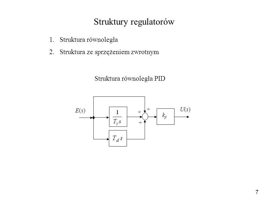 7 Struktury regulatorów 1.Struktura równoległa 2.Struktura ze sprzężeniem zwrotnym + + + kpkp E(s)E(s) U(s)U(s) Struktura równoległa PID