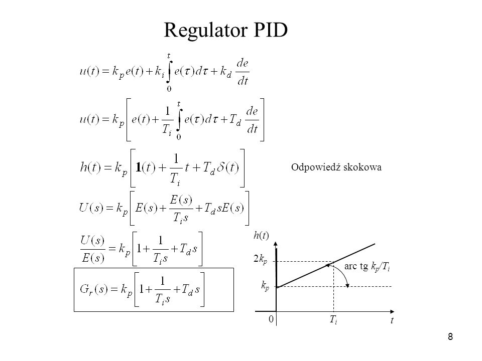 8 Regulator PID kpkp t h(t)h(t) 0 arc tg k p /T i 2kp2kp TiTi Odpowiedź skokowa