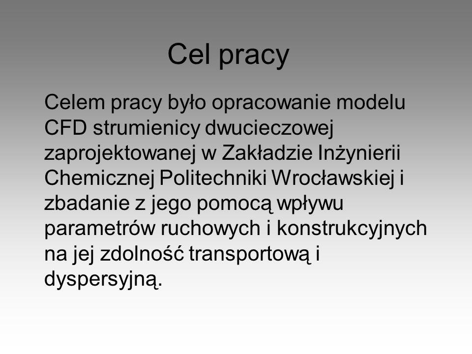 Cel pracy Celem pracy było opracowanie modelu CFD strumienicy dwucieczowej zaprojektowanej w Zakładzie Inżynierii Chemicznej Politechniki Wrocławskiej