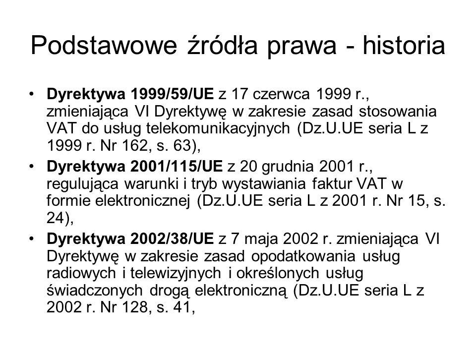 Podstawowe źródła prawa - historia Dyrektywa 2003/92/UE z 7 października 2003 r.