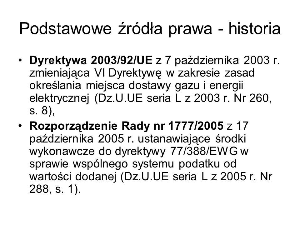 Podstawowe źródła prawa - obecnie Dyrektywa 2006/112/WE z 28 listopada 2006 r.