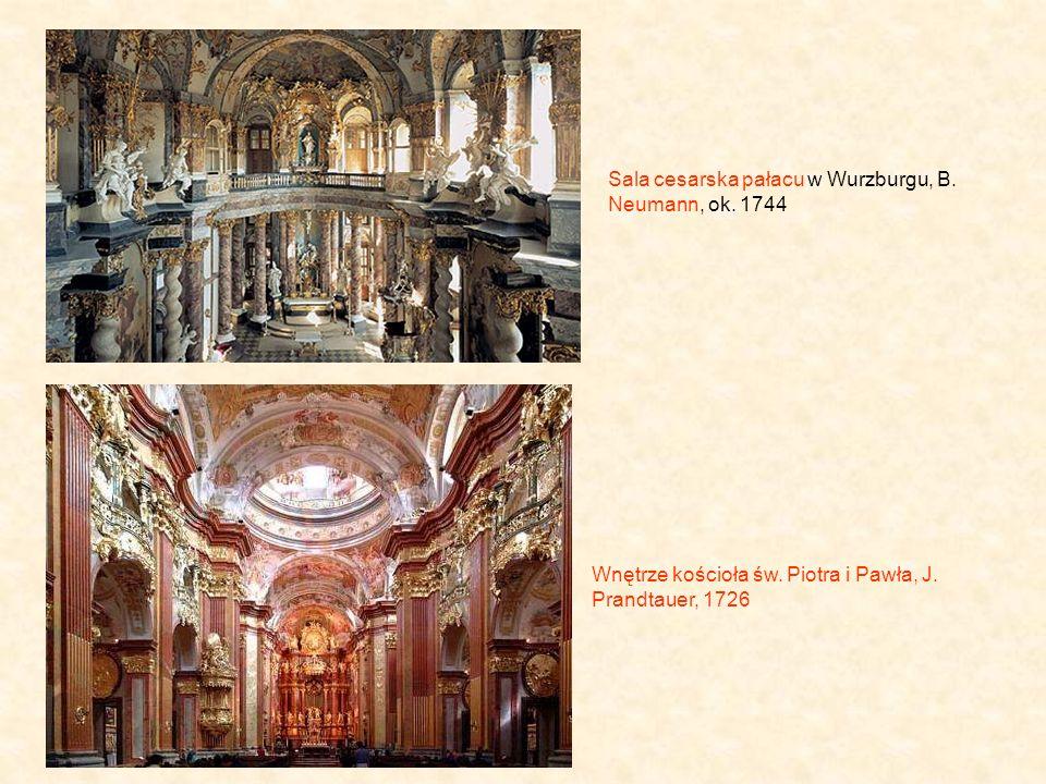 Sala cesarska pałacu w Wurzburgu, B.Neumann, ok. 1744 Wnętrze kościoła św.