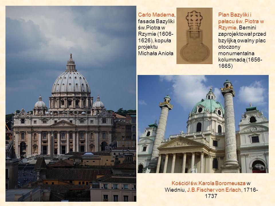 Carlo Maderna, fasada Bazyliki św.Piotra w Rzymie (1606- 1626), kopuła projektu Michała Anioła Kościół św.Karola Boromeusza w Wiedniu, J.B.Fischer von Erlach, 1716- 1737 Plan Bazyliki i pałacu św.
