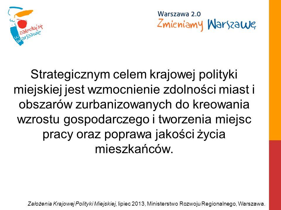 Strategicznym celem krajowej polityki miejskiej jest wzmocnienie zdolności miast i obszarów zurbanizowanych do kreowania wzrostu gospodarczego i tworz