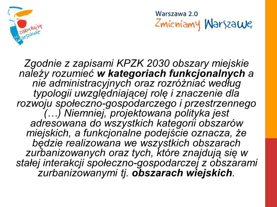 Zgodnie z zapisami KPZK 2030 obszary miejskie należy rozumieć w kategoriach funkcjonalnych a nie administracyjnych oraz rozróżniać według typologii uw