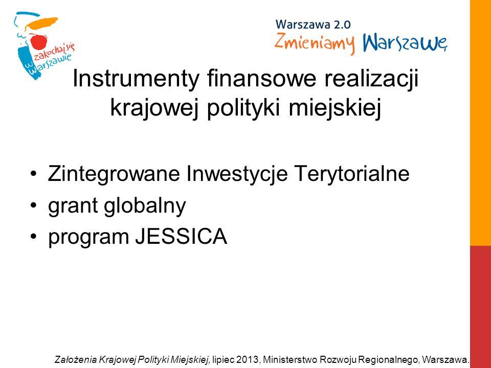 Instrumenty finansowe realizacji krajowej polityki miejskiej Zintegrowane Inwestycje Terytorialne grant globalny program JESSICA Założenia Krajowej Po