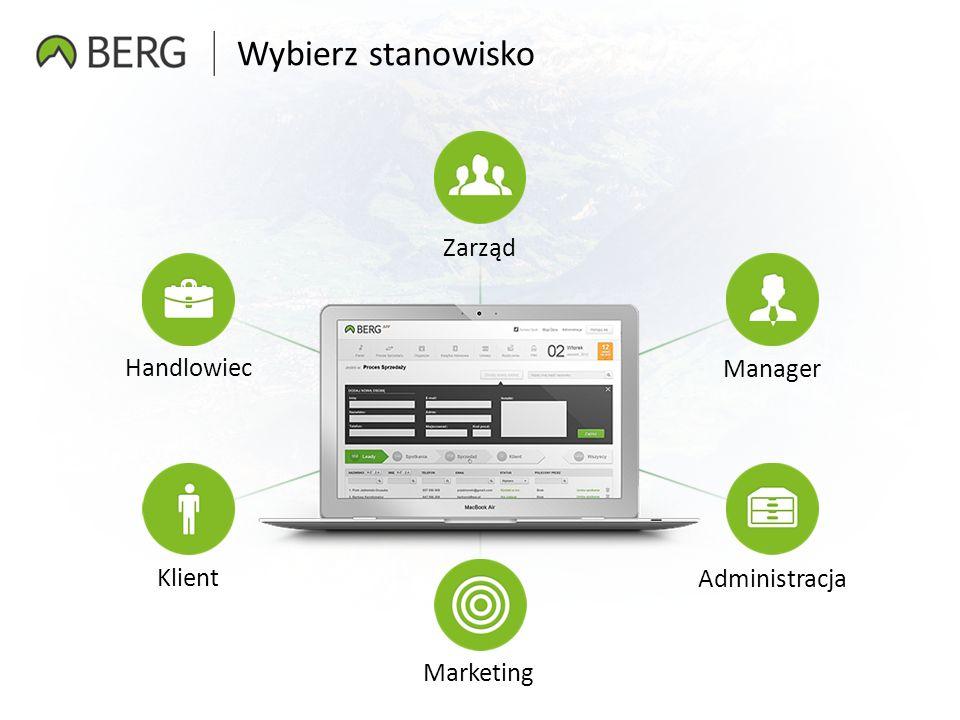 Wybierz stanowisko Zarząd Manager Marketing Administracja Klient Handlowiec
