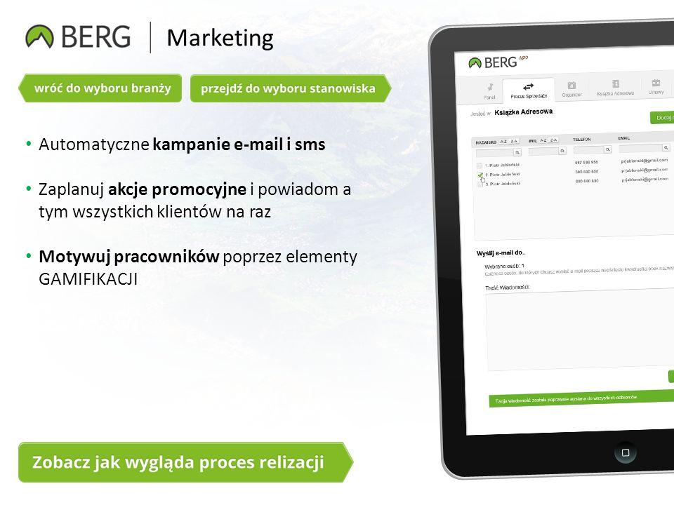 Marketing Automatyczne kampanie e-mail i sms Zaplanuj akcje promocyjne i powiadom a tym wszystkich klientów na raz Motywuj pracowników poprzez elementy GAMIFIKACJI