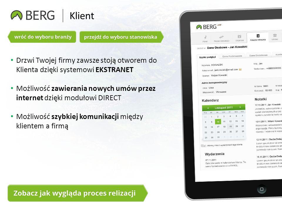 Klient Drzwi Twojej firmy zawsze stoją otworem do Klienta dzięki systemowi EKSTRANET Możliwość zawierania nowych umów przez internet dzięki modułowi DIRECT Możliwość szybkiej komunikacji między klientem a firmą