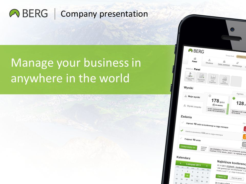 Company presentation Manage your business in anywhere in the world