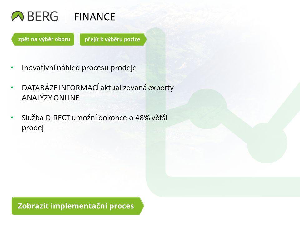 FINANCE Inovativní náhled procesu prodeje DATABÁZE INFORMACÍ aktualizovaná experty ANALÝZY ONLINE Služba DIRECT umožní dokonce o 48% větší prodej