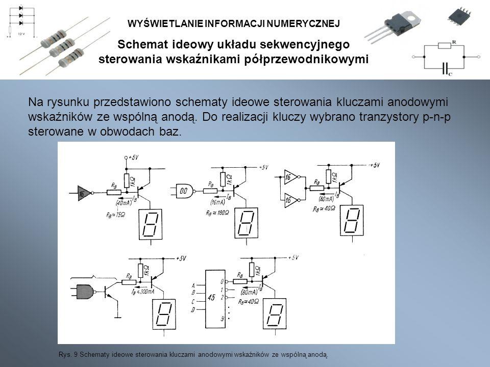 Schemat ideowy układu sekwencyjnego sterowania wskaźnikami półprzewodnikowymi WYŚWIETLANIE INFORMACJI NUMERYCZNEJ Rys. 9 Schematy ideowe sterowania kl