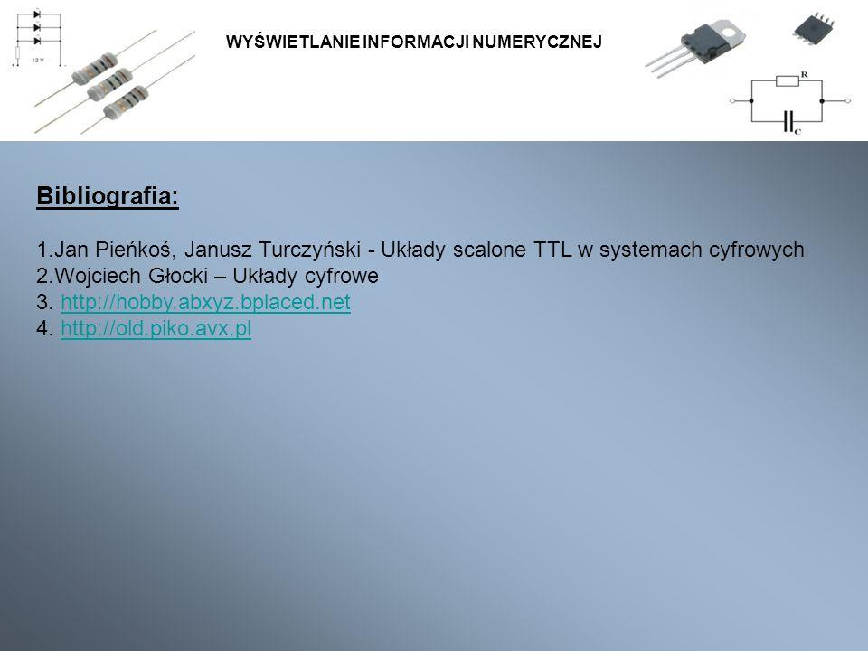 Bibliografia: 1.Jan Pieńkoś, Janusz Turczyński - Układy scalone TTL w systemach cyfrowych 2.Wojciech Głocki – Układy cyfrowe 3. http://hobby.abxyz.bpl