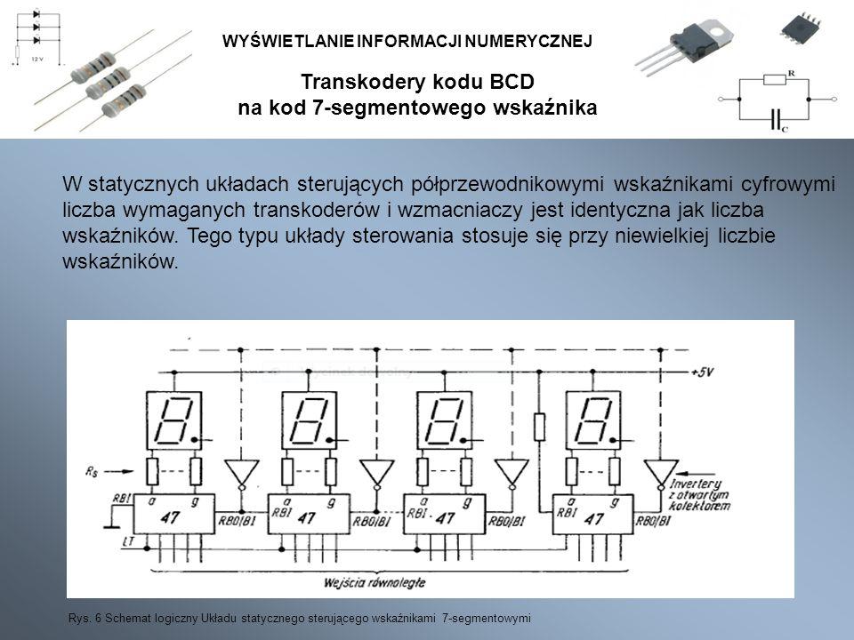 Transkodery kodu BCD na kod 7-segmentowego wskaźnika WYŚWIETLANIE INFORMACJI NUMERYCZNEJ W statycznych układach sterujących półprzewodnikowymi wskaźni