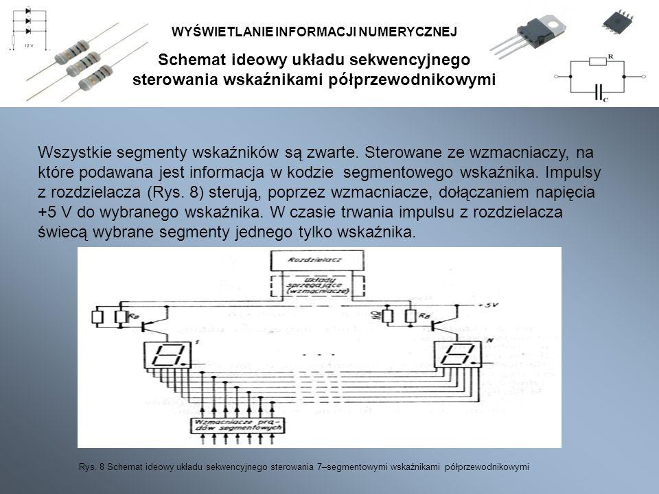 Schemat ideowy układu sekwencyjnego sterowania wskaźnikami półprzewodnikowymi WYŚWIETLANIE INFORMACJI NUMERYCZNEJ Wszystkie segmenty wskaźników są zwa