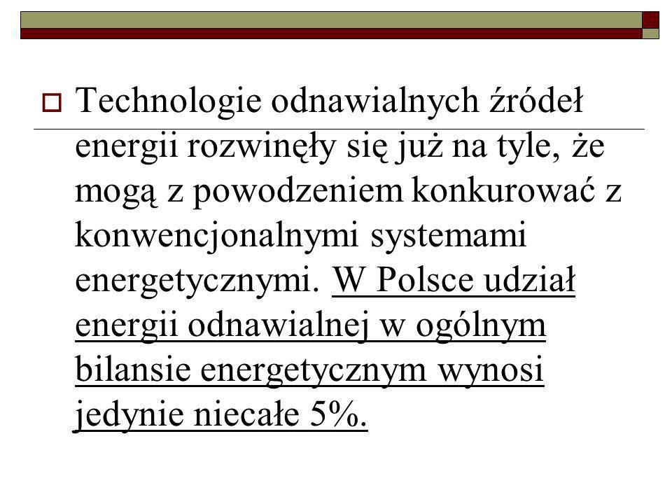 Technologie odnawialnych źródeł energii rozwinęły się już na tyle, że mogą z powodzeniem konkurować z konwencjonalnymi systemami energetycznymi. W Pol
