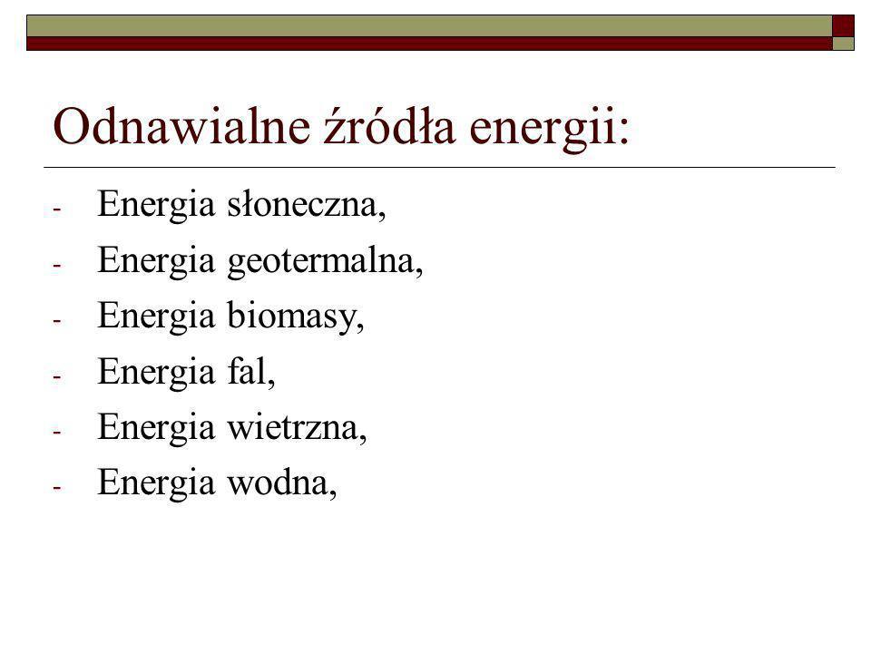 Odnawialne źródła energii: - Energia słoneczna, - Energia geotermalna, - Energia biomasy, - Energia fal, - Energia wietrzna, - Energia wodna,