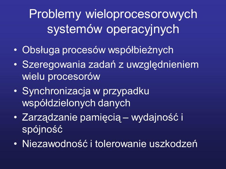 Problemy wieloprocesorowych systemów operacyjnych Obsługa procesów współbieżnych Szeregowania zadań z uwzględnieniem wielu procesorów Synchronizacja w